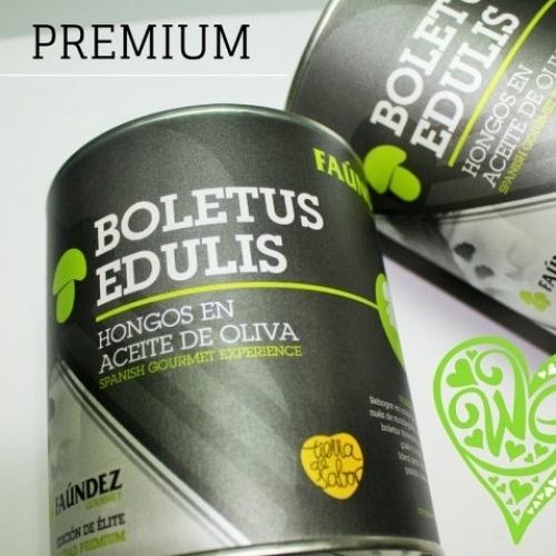 Boletus Edulis en Aceite de Oliva Premium Lata 480g (Hongos Troceados)