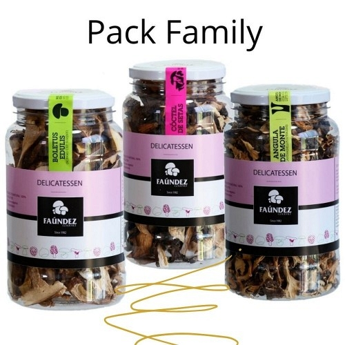 Pack Delicatessen Family (Tarro 100g Boletus Edulis, Cóctel de Setas, Angula de Monte)
